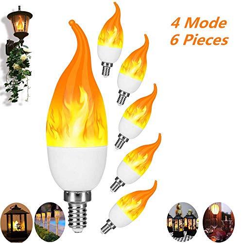 Elobaby Flamme Lamp, Flackernde Glühbirne, Dekorative Leuchte, Flammen Lampe, 4 Modi Feuer Effect Birne Für Weihnachten, Hochzeit, Party, Festival 6 Pieces