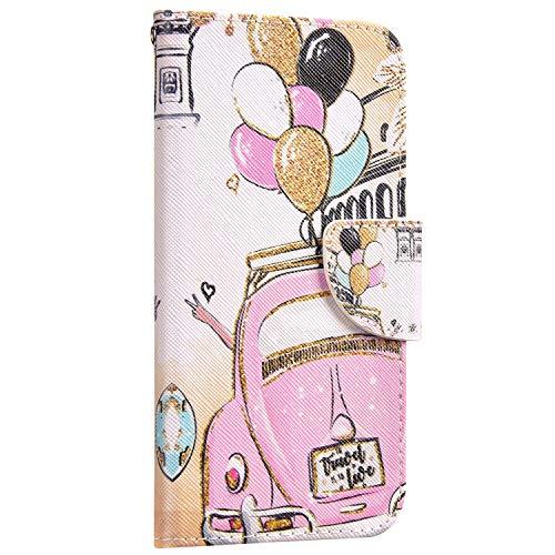 Saceebe Compatible avec Huawei P30 Lite Coque Cuir Etui Pochette Portefeuille Housse 3D Effet Motif Coloré Wallet Flip Housse Coque Porte-Cartes Magnetique avec Support Stand,Voiture