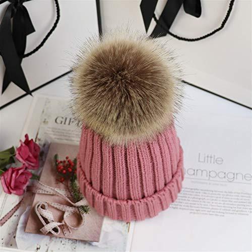 Gu3Je Winter Rib Strickmütze/Beanie mit abnehmbarem Chunky-Pelz-Bobble Pom (Color : Leather pink, Size : 48-54cm)