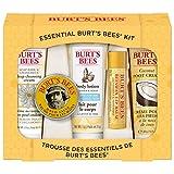 Coffret Cadeau Essentiel Burt's Bees, 5 produits de voyage - Crème nettoyante en profondeur, Baume pour les mains, Lotion pour le corps, Crème pour les pieds et Baume à lèvres