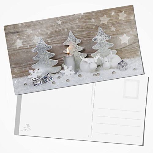 10pieza exclusiva XXL Tarjetas postales de navidad (Tarjetas postales Dos renos con una vela en Shabby Chic Color Blanco de gris de plata de 12,5x 23,5cm, Original libros de registro de Verlag