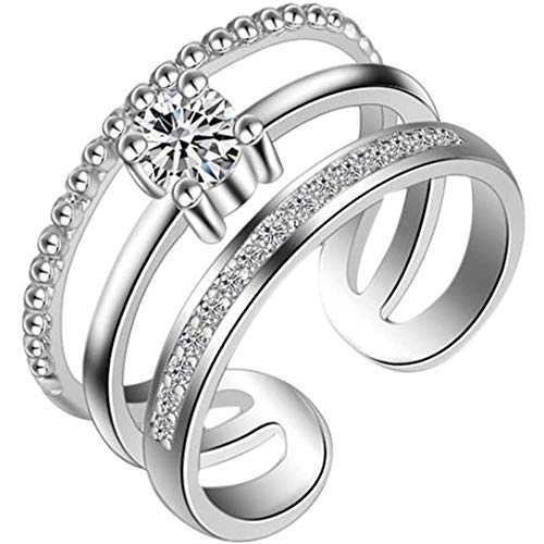 LJWJ Rings Personalised Women Three-Story Water Drill Ring,Girls Fashion Exquisite Jewelry Birthday Gifts Personalised/Silver/Open