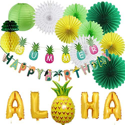 Cumpleaños Decoracion de Fiesta Tropical Party Decoration Con Hawaiano Aloha Banner Ventiladores de Papel Linterna Globos de Aluminio