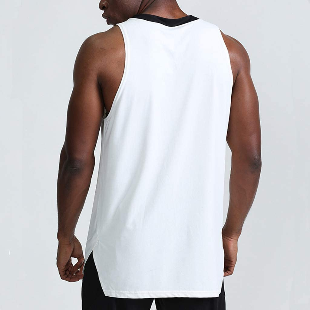 Gergeos Men's V-Neck Sport Tank Tops Fitness Training Muscle Quick-Drying Shirts