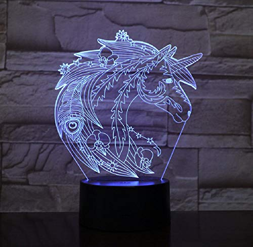 3D Illusion Remote Control LED Night Light Lamp The Unicorn Color Changing with Best Decoration for Living Room 16 Colors with Remote Night Light Lamp