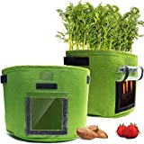 SimpleGoods 7 Gallon Garden Bags, 2 Potato Grow Bags, Durable & Root Friendly, Transparent Access Flap Window for Strawberry Planter Planting Sacks Sweet Potato Bag Outdoor Planters Vegetable Storage