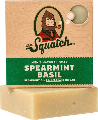 Spearmint Basil Natural Soap for Men – Minty Fresh Soap with Peppermint for a Naturally Clean Rinse – Organic Bar Handmade in USA by Dr. Squatch