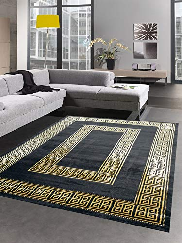 CARPETIA Teppich Wohnzimmer mit Bordüre im Mäander Muster schwarz Gold Größe 200 x 290 cm