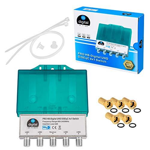 DiseqC Schalter Switch 4/1 mit Wetterschutzgehäuse HB-DIGITAL 4X SAT LNB 1 x Teilnehmer/Receiver für Full HDTV 3D 4K UHD + 5 x Vergoldete F-Stecker Vergoldet