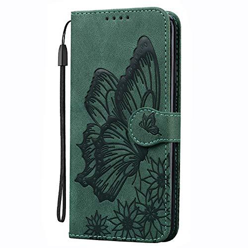 TOPOFU Hochwertige Leder Handyhülle für Samsung Galaxy A32 4G Hülle, Flip Hülle Tasche mit Magnetverschluss, Lederhülle Schutzhülle mit Kartensteckplätzen - Grün