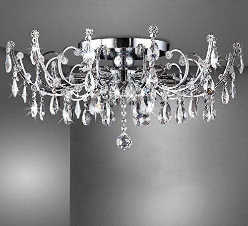 Strass Kristall Kronleuchter Deckenlampe Deckenleuchte Lüster Wohnzimmer Beleuchtung Kristallleuchte Wohnzimmerlampe klassisch XL 60cm 6xE14 Fassungen - 4