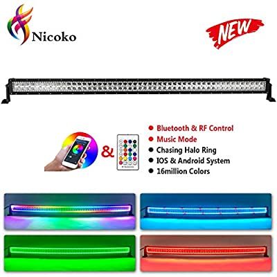 Nicoko Straight 50inch 288w Offroad Led Light Bars Installed Chasing RGB Halo Strip 10 Solid Color Over 72 Modes Driving Outside Fog Lamp Lighting for SUV Ute ATV Truck 4x4 Boat+Free wireharness