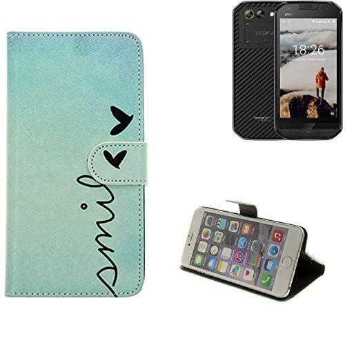 K-S-Trade® Schutzhülle Für Doogee S30 Hülle Wallet Case Flip Cover Tasche Bookstyle Etui Handyhülle ''Smile'' Türkis Standfunktion Kameraschutz (1Stk)