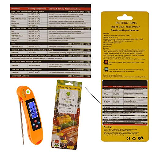 Digital Thermometer Talking Instant Read- Electronic BBQ- Great for Barbecue, Baking, Grilling, Cooking, All Food & Meat, Liquids- Collapsible Internal long Probe (Orange) By Surround Point