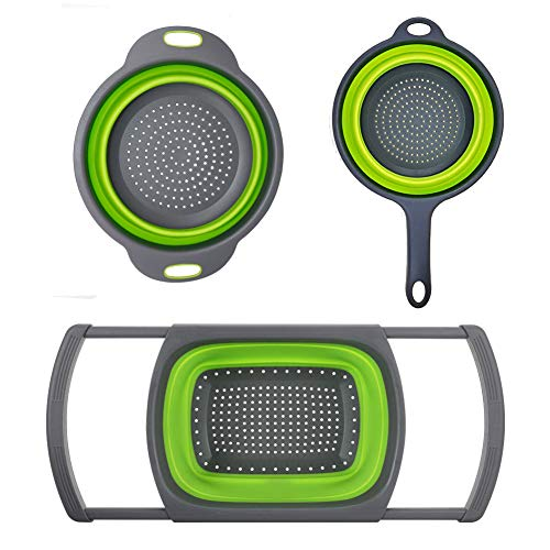 Huanlemai 3-Packs Green Silicone Kitchen Collapsible Colander Set - 6-Quart Over The Sink Collander  4-Quart VeggiesFruit Basket Strainers and Colanders  2-Quart Pasta Strainer With Handle