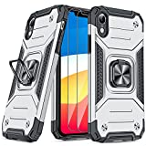 JAME Case for iPhone XR Cases with Screen Protector 2PCS, Military-Grade Drop Protection, Protective Xr Phone Case, Shockproof Bumper XR Case with Ring Kickstand, for iPhone XR 6.1 Inch Silver