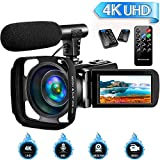 4K Camcorder Video Camera for YouTube, Vlogging Camera with Microphone Ultra HD 30MP...