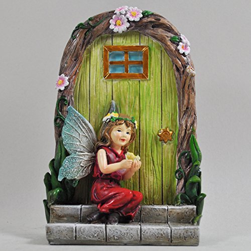 Prezents.com Fée Garden UK Fairy Girl Butterfly & Door Tree Garden Décoration de jardin – Mini figurine cadeau originale – Robe de Pixie rouge moyenne 15 cm