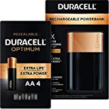 Duracell Rechargeable Powerbank - 10050 mAh + Optimum AA Alkaline Batteries - 4 Count