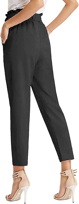 ameIAEA Women's Pants Casual Trouser Paper Bag Pants Elastic Waist Slim Pockets Bowtie Casual Ankle-Length Career Pants