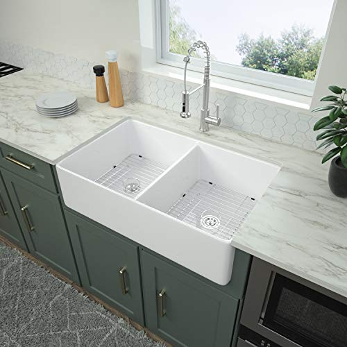 Logmey 32 Inch Farmhouse Sink Apron-Front Fireclay Double Bowl White Ceramic Kitchen Sink