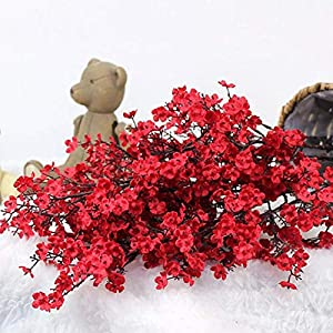 """Silk Flower Arrangements WPF 4 Pcs Baby Breath Gypsophila,Artificial Flowers Bouquets Fake,Real Touch,for DIY Wedding Decoration Home Bouquet,19.7"""" (Color : Red)"""