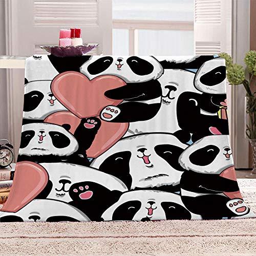 xczxc Manta de Franela Panda de Dibujos Animados 3D Impreso de Microfibra Franela Mantas, Suave niños Adultos sofá Cama Manta Polar 180x200cm