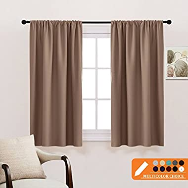 PONY DANCE Kitchen Thermal Insulated Blackout Curtains - Window Treatments Curtain Panels with Rod Pocket Light Block Privacy Protect for Bathroom by, Wide 42  by Long 45 , Mocha, Two Pieces