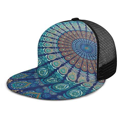 Gorra de béisbol Bohemia Mandala India Home Decor Unisex 3D Hip Hop Snapback Flat Brim Hat Gorras de béisbol Negro