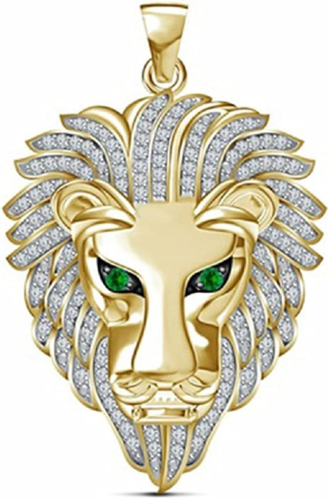 Lion Necklace for Men, Nordic Viking Lion Head Pendant Necklace Iced Out Lion Necklace Men's Punk Lion Charm Necklace Jewelry Gift Father's Day Accessories