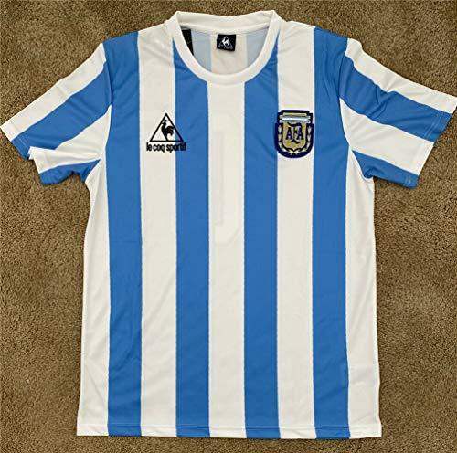 W Weiluogao Argentina MéXico 1986 Maradona # 10 Camiseta Retro De La Copa del Mundo, Maradona 10 Camiseta Personalizada De FúTbol Retro De Argentina 1986 Local, Trajes para Adultos Y NiñOs (XL)