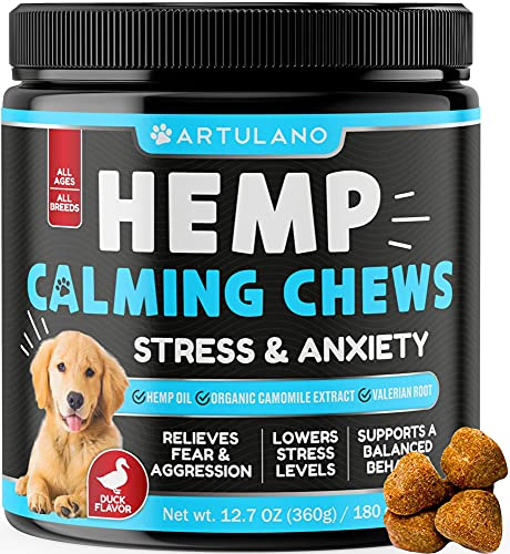 Hemp Calming Treats for Dogs - Made in Usa - 180 Soft Dog Calming Treats - Aids Stress, Anxiety,...