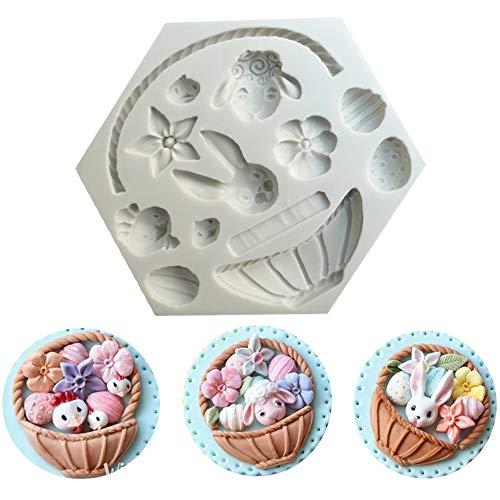 Molde de Silicona para Fondant Molde Chocolate de Pascua Moldes para Decorar Pasteles, Chocolate, Dulces, Hornear  Gris