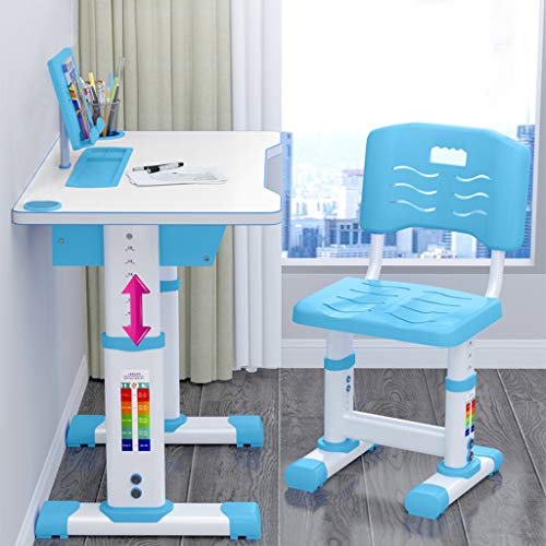 Blue Excitation Artistic Inspiration Kids Desk and Chair Set Study Online Class at Home,Safe Durable Height Adjustable Study Desk and Chair Set Pull Out Drawer with Tilted Desktop for Boys Girls