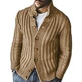 Chaqueta de suéter Tipo cárdigan de un Solo Pecho con Solapa de Color sólido para Hombre Talla Grande Casual Moda Cómoda Chaqueta de suéter de Todo fósforo L