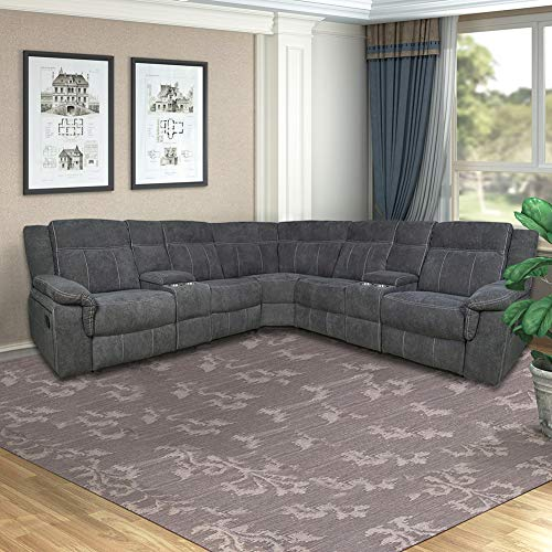 themagichome Sectional Sofa Symmetrical Reclining Sectional Sofa Fabric Modern Sectional Sofa Couch Power Motion Sofa Living Room Sofa Corner Sectional Sofa with Cup Holder-Grey Fabric