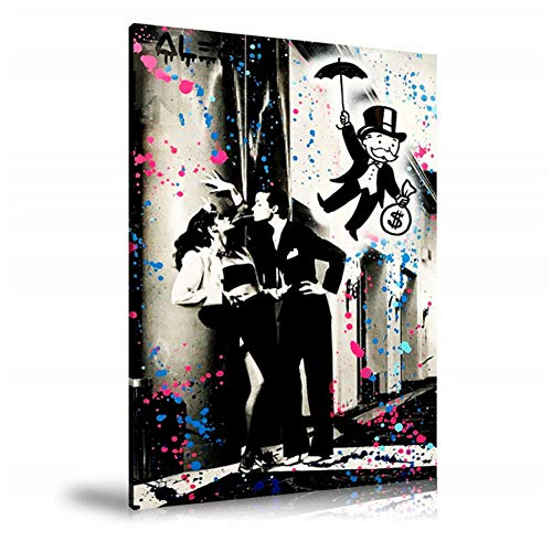 Alec Monopolys Umbrella Kisses HD Wall Art Canvas Poster Print Canvas Painting Decorativo para la sala de estar de la oficina Decoración para el hogar -50x70cm Sin marco