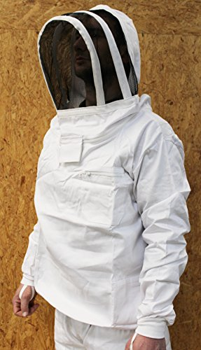 Förster-Fellnest Qualitäts Imkeranzug: Imkerblouson, Imkerhemd, Imkerpullover/Tunika mit selbsttragender Haube - Fechtschleier, kompakt, stabil, 100% Baumwolle