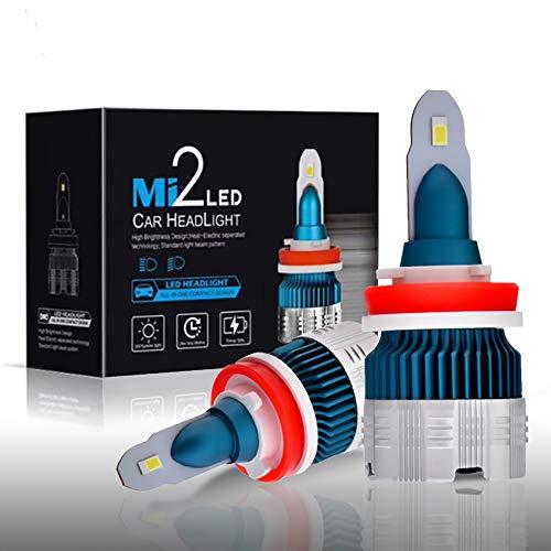 Ampoule de Phare de Voiture H11, Ampoule de Phare à LED 50W 6000K 6000LM, Kit de Conversion de LED Auto Etanche IP68, Paquet de 2