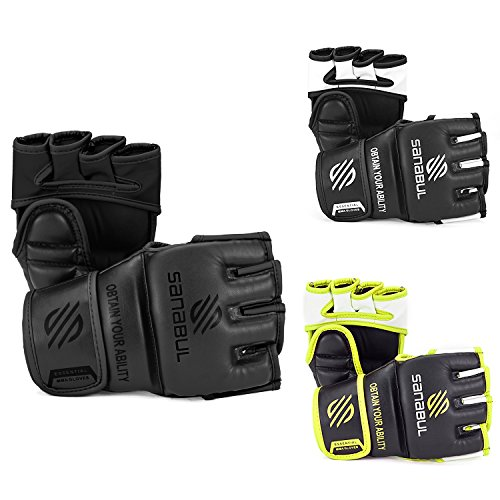 Sanabul Essential MMA Grappling Gloves 4 oz (Allblack, Large/X-Large)