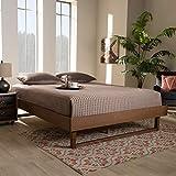 Baxton Studio Liliya Mid-Century Modern Walnut Brown Finished Wood Queen Size Platform Bed Frame