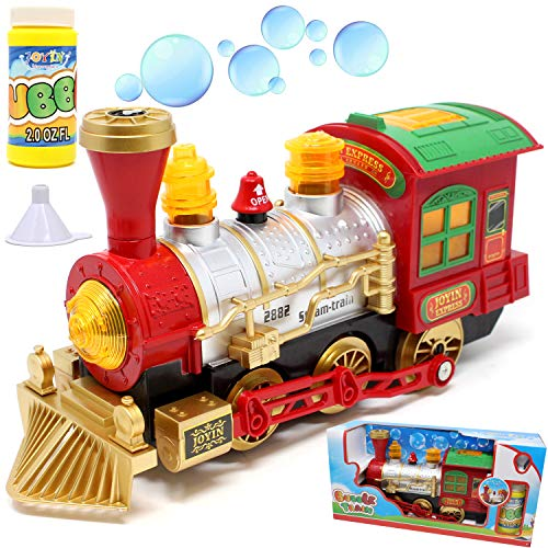 JOYIN Bubble Bump-N-Go Steam Train Locomotive Car with Lights and Sound Includes 2 Ounce Bubble Solution for Holiday Toy, Stocking Stuffers, Easter, School Classroom Decor.