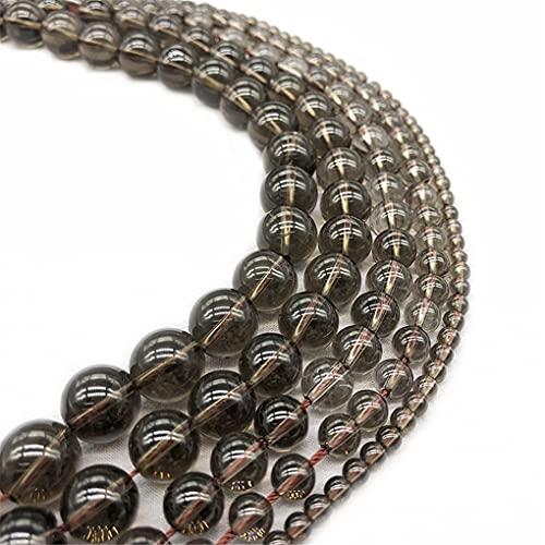 Piedra de cuarzo ahumado 4/6/8/10/12 mm cuentas redondas para hacer joyas DIY encanto pulsera de cristal Perles 15 pulgadas ahumado 4mm aprox 93beads