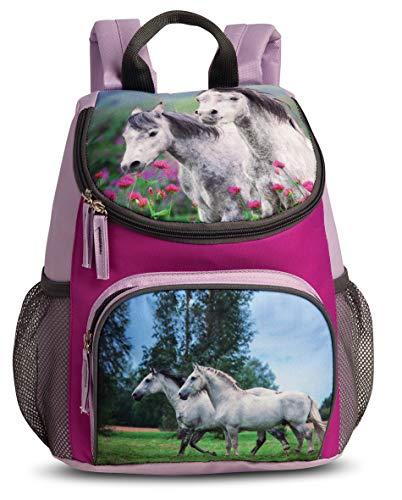 Mädchen Kinder Rucksack Kinderrucksack mit tollem Pferde Pfohlen Motiv (516) mit Hauptfach, Nebenfach und Getränkenetz, 31 x 25 x 18 cm, rosa/violett