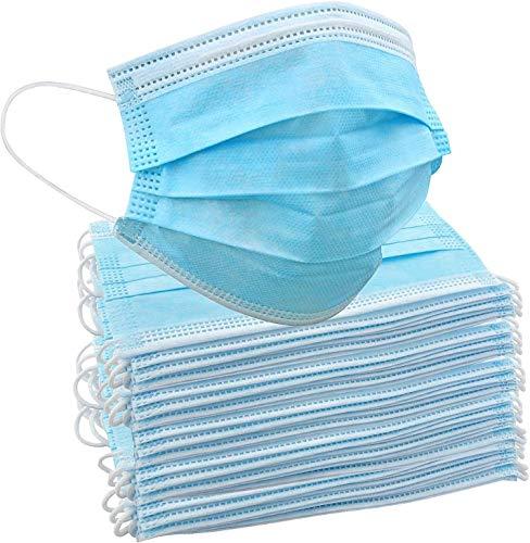 50 Stück Einweg-Gesichtsmasken | Innen- und Außenschutz für Nase und Mund mit 3-lagigem Sicherheitsschutz, elastische Ohrschlaufen & bequemes für Erwachsene & Kinder