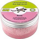 Greendoor peeling corporal Sal De Mar Scrub Rosa, peladura de sal marina sin Plástico & sin conservantes, 280g con Aceite de almendra, Body Scrub