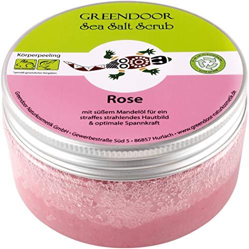 Greendoor Körperpeeling Meersalz Rose, natürliches Peeling ohne Mikroplastik für Damen, 280g Duschpeeling ohne Konservierungsmittel, mit straffendem Mandelöl, Body...