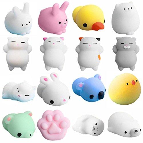 OEIGCI Mini Squishies Spielzeug,16 Stück Animal Squishies Quetschspielzeug,Soft Squishy Release Stress Tierspielzeug,süßes Siegel Octopus Rabbit Chick