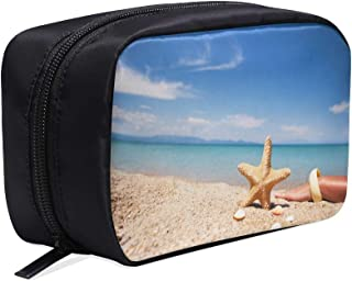 Seashell And Starfish Sandy Beach Near The Sea Portable Travel Makeup Cosmetic Bags Organizer Multifunction Case Small Toiletry Bags For Women And Men Brushes Case