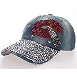 N\A Gorra de Beisbol Gorra De Béisbol Moda Denim Lavado Simulación Letras De Diamantes Gorra De Béisbol Jeans Diamantes De Imitación Labios Gorras Snapback Sombreros Hip Hop Sombreros para Mujeres